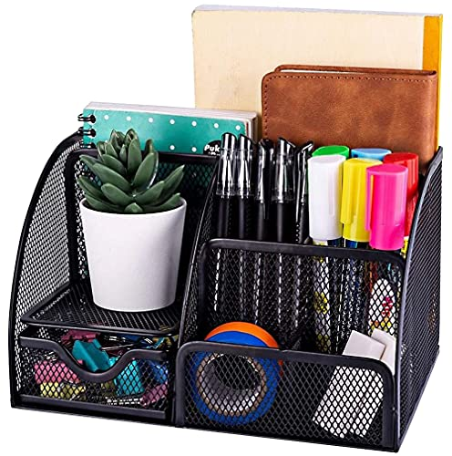 ISO TRADE Organizador de Escritorio 6 Compartimentos Negros y 1 cajón para Oficina en casa 15987