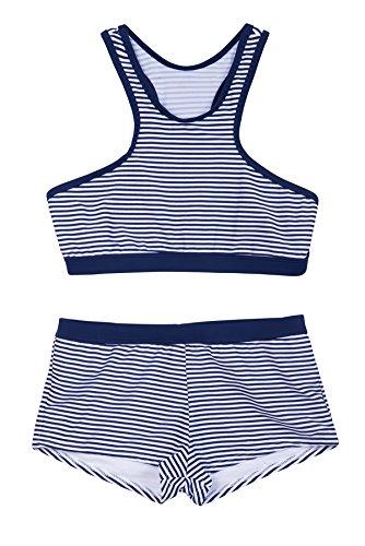 La-V Mädchen Bikini Zweiteilig Sport Navy Gestreift/Größe 152/158