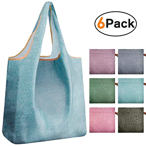 REGER Reusable Shopping Tote Fabric Foldable Bags Compact Pocket Heavy Duty Eco Friendly Machine Washable Denim Blue(Simple colors,Pack of 6)