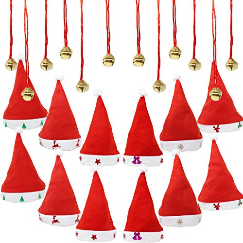 JOYIN 1 Dozen Fancy Santa Hats with 1 Dozen Jingle Bell Necklaces for Christmas Party-ONE SIZE FITS ALL
