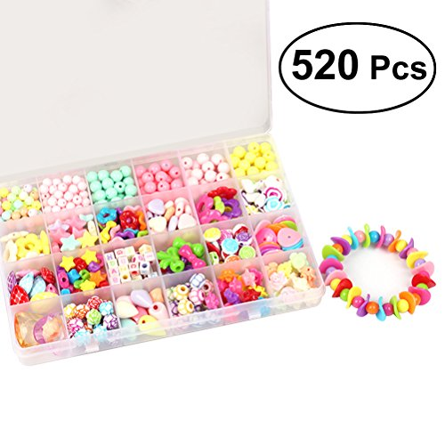 ROSENICE Juego de Creación Cuentas Kits de Perlas de Joyería para niños DIY Juguetes de Educación Temprana Inteligencia 520pcs