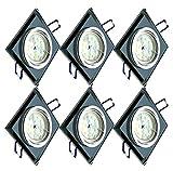 Trango Set di 6 Design Faretti da incasso a LED TG6736S-06B Apparecchi da incasso a I Faretti a soffitto I Faretti in vetro nero e alluminio con 6 sorgenti luminose a LED GU10 Faretti a soffitto