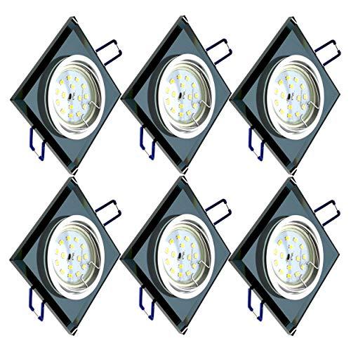 Trango Conjunto de 6 Proyectores LED empotrados de diseño TG6736S-06B Luminarias empotradas Focos de techo I Focos de vidrio negro y aluminio con 6 fuentes de luz LED GU10 Focos de empotrados