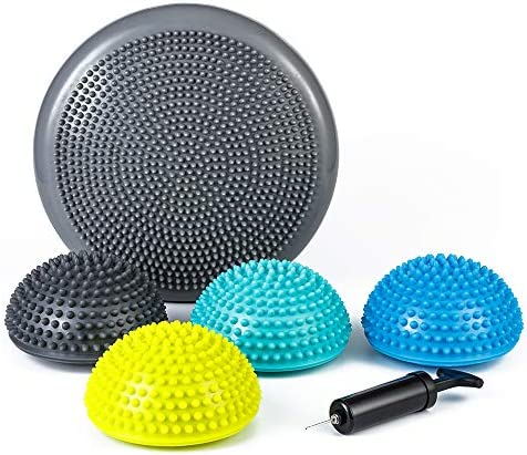 StrongTek Hedgehog Balance Pods with Hand Pump Stability Balance Trainer Dots Plus Large Balance product image
