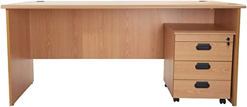 Mahmayi Bess Office Desk With Mobile Drawers, Beige, 7.5 kg, BG180MD