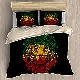FEIDANNO Rasta Duvet Cover Set Queen Size, Ethiopian Flag Colors on Grunge Sketchy Lion Head with Black Backdrop Theme Art, A Decorative 3 Piece Bedding Set with 2 Pillow Shams,(Multicolor,Queen)
