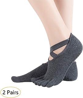 Mujer 2/4 Pares Calcetines Pilates Yoga - Antideslizantes Traspirable Calcetín Barra Ballet Danza Calcetines
