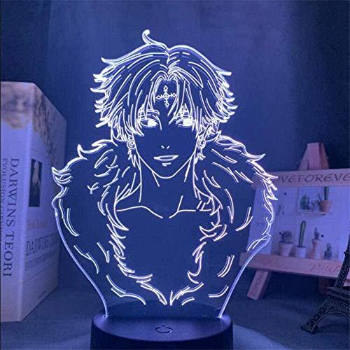 Lámpara de ilusión 3D Led Night Light Hunter X Hunter Chrollo Lucilfer Anime Lámpara de mesa para regalo de Navidad, regalo de cumpleaños para niños
