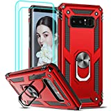 LeYi Compatible for Samsung Galaxy Note 8 Case (Not Fit 8 Plus) with [2 Pack] 3D Curved Screen Protector, [Military-Grade] Magnetic Ring Holder Kickstand Protective Phone Case for Samsung Note 8,Red