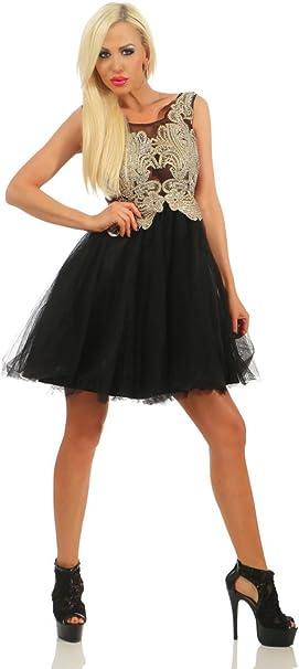 Fashion4young 11482 Damen Mini Kleid Partykleid Tattoospitze Chiffon Cocktailkleid Glitzer Dress Abendkleid Festkleid Schwarz S 36 Amazon De Bekleidung