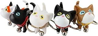 LRRH Cute Cat Kitten Keyrings Stainless Steel Key Chain Rings Doll Key Rings Keyring For Handbag(5PCS)