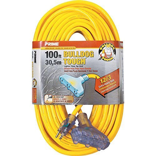 Prime Wire & Cable LT611835 100-Foot 12/3 SJTOW Bulldog Tough Heavy Duty Triple-Tap Extension Cord with Prime Light Indicator Light, Yellow by Prime Wire & Cable, Inc.