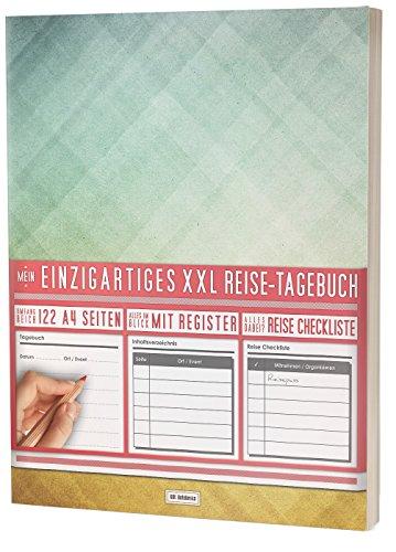"""Mein Einzigartiges XXL Reisetagebuch: 122 Seiten, Register, Kontakte / Neue Auflage mit Reise Checkliste / PR401 """"Dreiecke"""" / DIN A4 Soft Cover"""