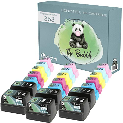 The Bubbli Original | 363 XL Cartucho de Tinta Compatible para HP Photosmart C6180 C8180 D7360 D7460 C6280 C7250 8250 C5180 D7160 C7180 3310 D7260 3210 C6250 8230 3110 D6160 (21-Pack)