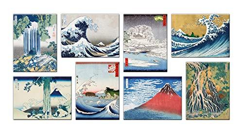 LuxHomeDecor Quadri Hokusai 8 Pezzi 40x30 cm Stampa su Tela con Telaio in Legno Arredamento Arte Arredo Moderno