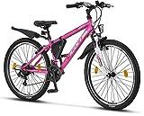 Licorne Bike Guide Bicicleta de montaña de 26 Pulgadas, Cambio Shimano de 21 velocidades, suspensión de Horquilla, Bicicleta Infantil, para niños y niñas, Bolsa para Cuadro,Rosa/Blanco