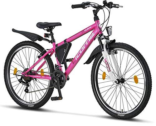 Licorne - Mountain bike per bambini, uomini e donne, con cambio Shimano a 21 marce, Bambina, rosa/bianco, 26