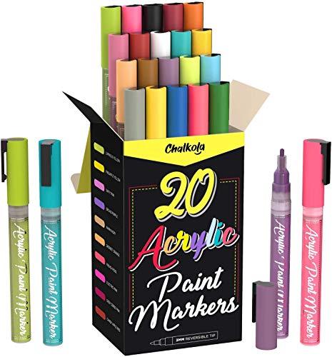 Acryl-Farbstifte für Steinmalerei, Stein, Keramik, Glas, Holz, Leinwand – Set mit 20 Farben, feine Spitze auf Wasserbasis