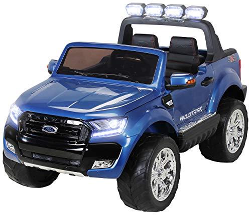 Actionbikes Motors Kinder Elektroauto Ford Ranger Wildtrak - Allrad 4x4 - Touchscreen - 2 Sitzer - 4 x 45 Watt Motor - Fernbedienung - Elektro Auto für Kinder ab 3 Jahre (Allrad Blau lackiert)