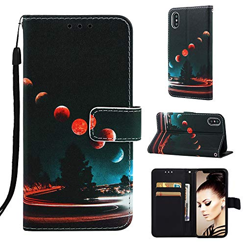 iPhone Xs Case, iPhone X Case, UZER Cartoon Series Kickstand Feature Premium PU Leather Shockproof Flip Wallet Case with Card Holder ID Slot Money Pocket Durable Magnetic Cover for iPhone Xs/X 5.8""