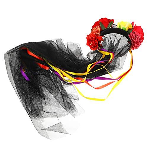 Lurrose Headband Da Flor Do Dia Das Bruxas Dia de Finados Flor Da Coroa Do Crânio Mexicano Longo Malha Cocar para O Dia Das Bruxas Partido Cosplay ( 2 )