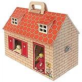 Coemo Puppenhaus Puppenstube im Koffer tragbar aus Holz 2 Puppen Sticker Möbel