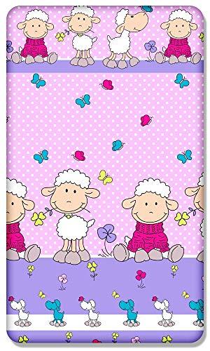100% Baumwolle Enganliegend Blatt Mit Bedruckt Design Für Baby Junior Bett 160x70CM - Schaf Pink