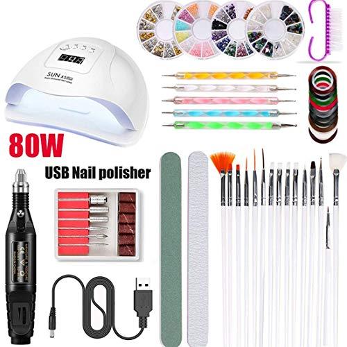 YANG Electric Manicure Kit Nail Remover,20000 RPM Mini Pen Type Electric Nail File Set 15 in 1 Multi-Function Electric Manicure Kit USB Phototherapy Nail Machine,Black