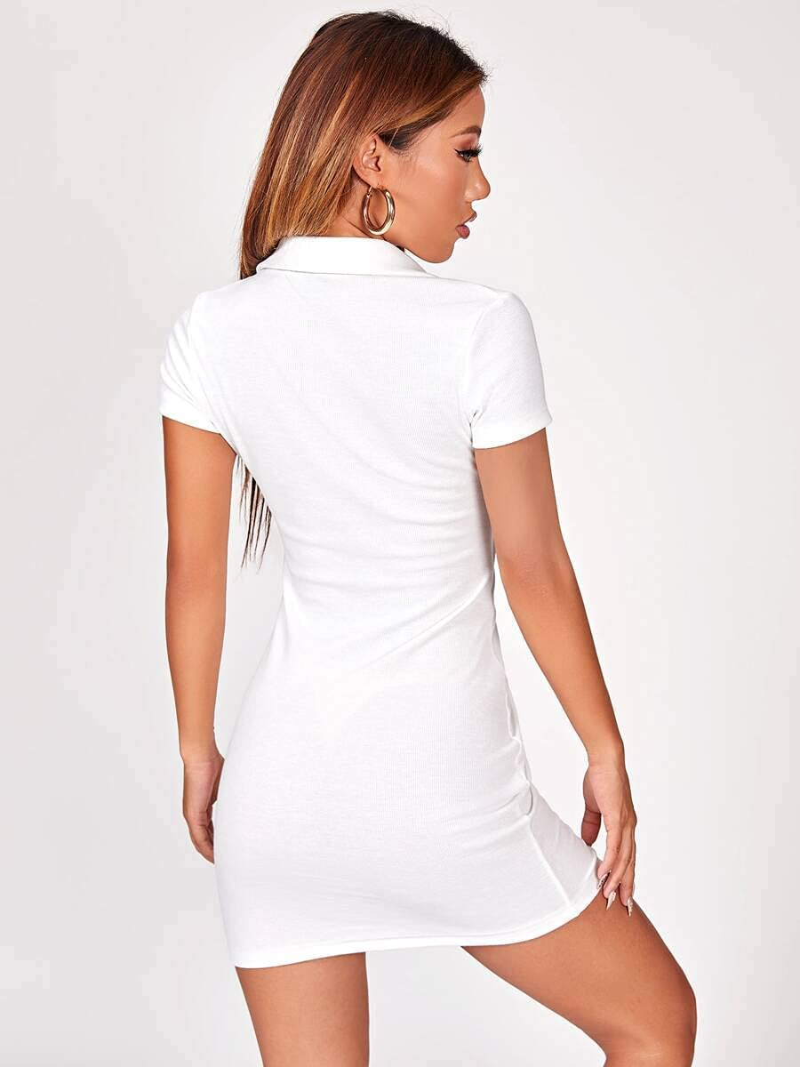 VOLKSLAND Summer Dress Button Max 87% OFF Front D Party Ruched Bodycon 1 year warranty