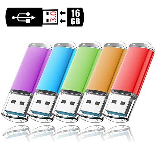 Lot de 5 Clé USB 16 Go cles USB 3.0 Mémoire Stick Flash Drive Carte Mémoire Porte Clef USB Pendrive U Disque Clés USB personnalisée Stockage