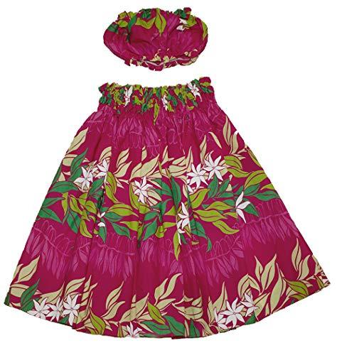 夏威夷小女孩Pa'u Hula裙带上衣,夏威夷孩子呼啦师裙5至8岁的女孩(粉红色)