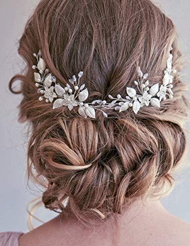 Cathercing - Accessorio per capelli da sposa da donna, accessorio per capelli da sposa, per matrimonio, festa di ballo di fine anno (2 pezzi)