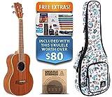Exotic Mahogany Tenor Ukulele (15-FREE-Bonuses) Compression Sponge Case, Aquila Strings, Felt Picks, Tuner, Chord Stamp, Chord Chart, Leather Strap, Live Lesson & More (Limited Time)