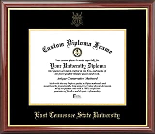 Laminated Visuals East Tennessee State University Buccaneers - Embossed Seal - Mahogany Gold Trim - Diploma Frame