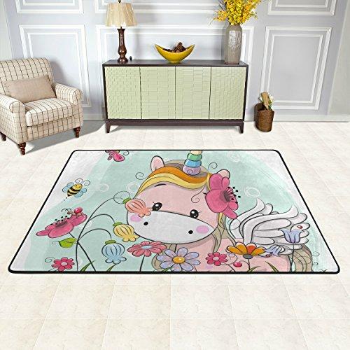 Alfombra isaoa moderna suave de 3 x 2 pies con diseño de unicornio y unicornio, antideslizante, alfombra de zona durable, alfombra para baño, dormitorio, cocina, pasillo, mascota, entrada de alfombras