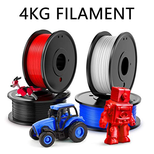 PLA Filaments 1.75mm, 4kg Filaments d'impression 3D (8.8lb), Utilisé for L'imprimante 3D et Un Stylo 3D, y Compris Le Bleu, Rouge, Blanc et Noir