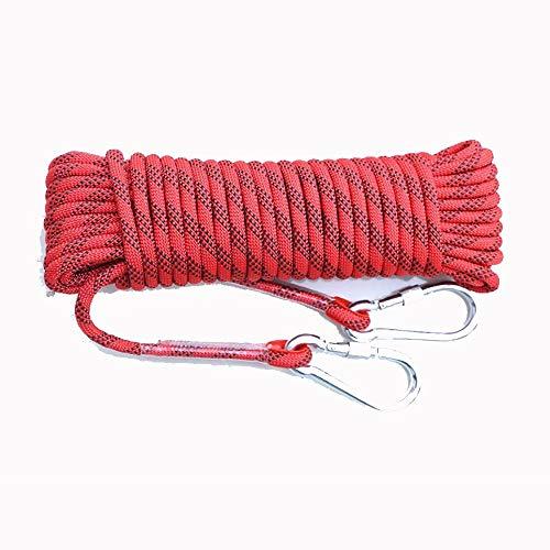 Liuxiaomiao Sicherheitsseil für den Außenbereich, aus Nylonseil, wetterfest, rutschfest, Fuga Sicherheitsseil, für Wandern und Camping Rescue 16mm x 50m rot