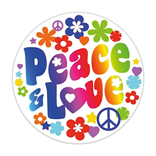 younikat Sticker Peace & Love I Ø 10 cm I Flower-Power Blumen Hippie Motiv I für Laptop Koffer Tür Roller Bulli Auto-Aufkleber I wetterfest I kfz_260