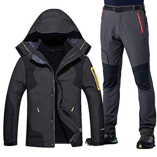 Winter Ski Anzug für Männer Warm Windproof Wasserdicht Ski Snowboard Jacken Set Männlich Outdoor Snow SkijackeSoftshell Pants Set, Dunkelgrau Grau, Asiatisch 4XLEUR 3XL