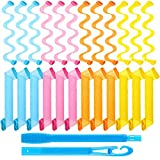24 Pieces Hair Curlers Spiral Curls Styling Kit, No Heat Hair Rollers Spiral Styling Curlers Heatless Wave Style Hair Curlers with Styling Hooks for Long Hair Styling Tools (11.8 Inches)