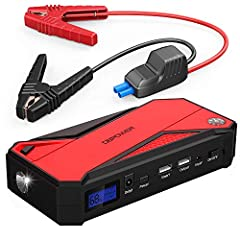 【SUPER PORTABILITY】Unlike some big & heavy jump starters, this one is small & light enough to store in the glove box. 7,28*3,46*1,38 inches, 1.35lb. 【POWERFUL JUMP STARTER】This jump starter is able to jump start 12V vehicles (up to 7.2L petrol or 5.5...