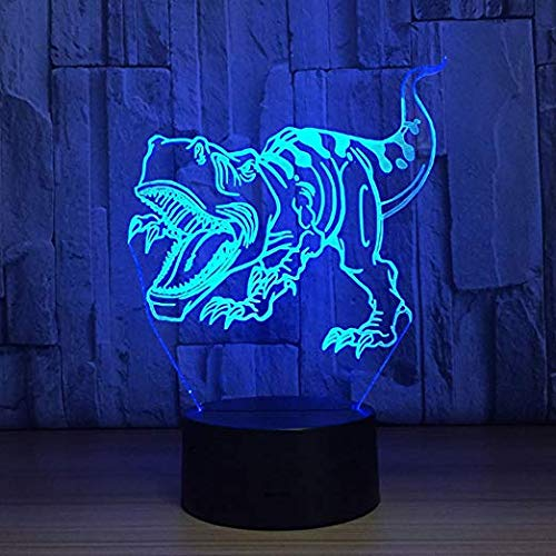 YKL World 3D Illusion Lamp LED Tyrannosaurus Rex Night Light Dinosaur Animal Toys 7 Color Changing Touch Sensor Desk Table Lamp with USB Cable Decoration for Nursery Bedroom Kids Birthday Gifts