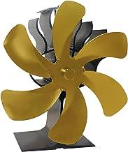 LOVIVER Ventilador de Chimenea para Estufa de leña de 6 aspas - Motores silenciosos mejorados Circula el Aire Caliente/calentado Estufas de leña/leña - Dorado