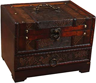 LIOOBO Wood Jewelry Box Antique Vintage Wooden Storage Box Treasure Chest Cosmetic Desktop Jewelry Container with Mirror f...