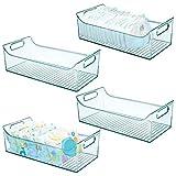 mDesign Juego de 4 cestas organizadoras para cuarto de bebé – Contenedor plástico grande con prácticas asas y sin tapa – Amplia caja para juguetes o pañales en plástico libre de BPA – azul claro