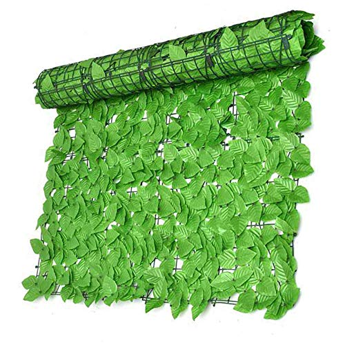 QIAOH Künstlicher Laubzaun Sichtschutz 1x3m, Sichtschutzhecke Efeu, Outdoor Garten Künstliche Falsche Efeu Hecke Blatt Sichtschutz Zaun Wandschutz Deko Zaunblende Grün