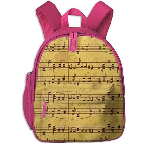 Mochila para Niños Bastón Antiguo de partituras, Mochila Escuela Primaria de Edad Peso Ligero Pérdida Mochila de Viaje para Chico Chica