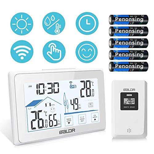 SINZON Wetterstation, Outdoor Indoor Digital Thermometer Hygrometer mit LED-Sensor-Hintergrundbeleuchtung, Komfort-Symbol, Datums- / Uhrzeitanzeige, Batterie inklusive - Weiß