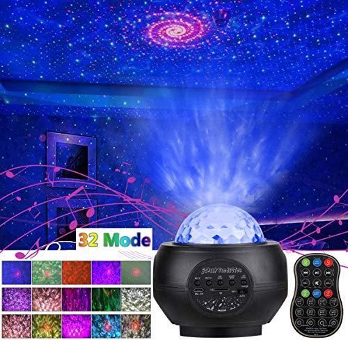 Preisvergleich Produktbild LED Projektor Sternenhimmel Lampe Sternenprojektor mit Bluetooth 32 Modi Lautsprecher Lampe Starry Stern Mond / Wasserwellen 9 Farbwechsel für Baby Kinder Schlafzimmer Haus Dekoration Party