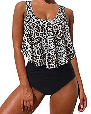 MOSHENGQI Swimsuits for Women Two Piece Ruffler Flouce Top Tankini High Waisted Bathing Suits Tummy Control(L,Leopard-2)
